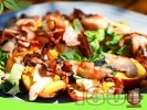 Рецепта Праскови на барбекю със синьо сирене и бекон